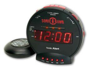 113 Decibels of Wakeness. Sonic Alert Sonic Bomb Loud Dual Alarm Clock with Bed Shaker.