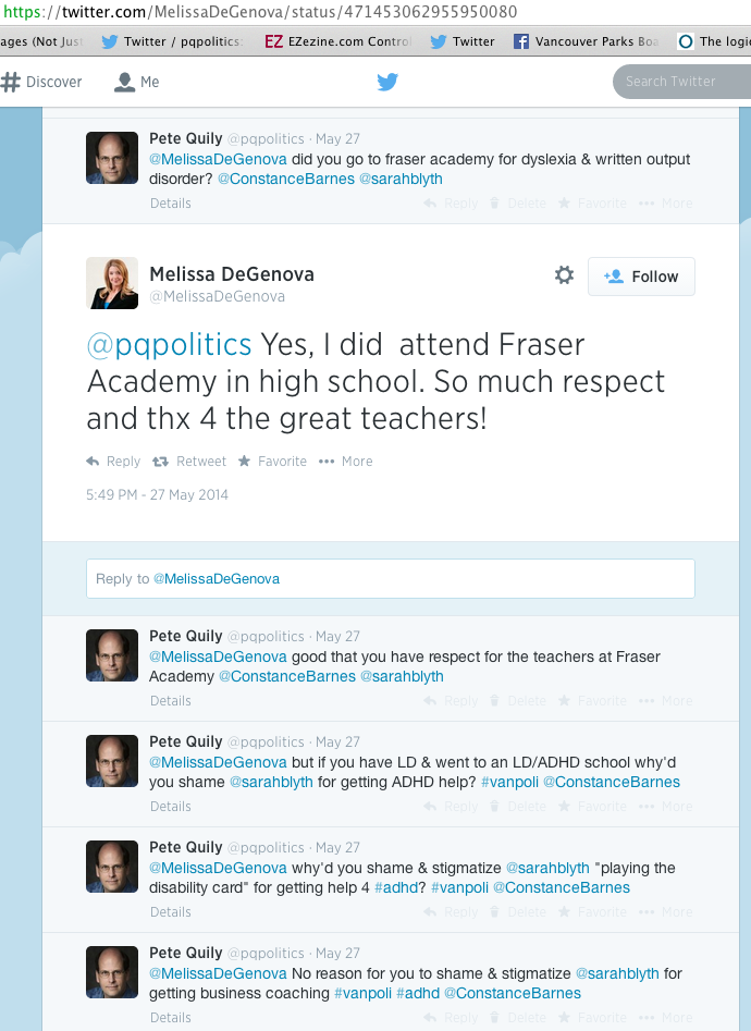 melissa de genova saying she went to fraser academy school for LD may 27 2014