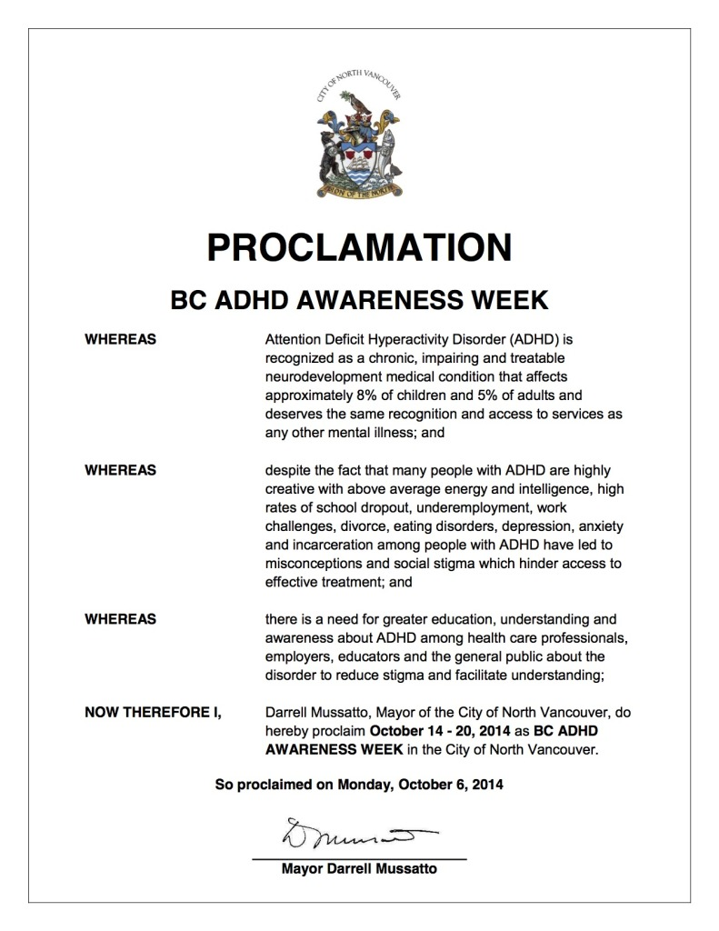 North Vancouver City Council's Proclamation of BC ADHD Awareness Week October 14-20 2014